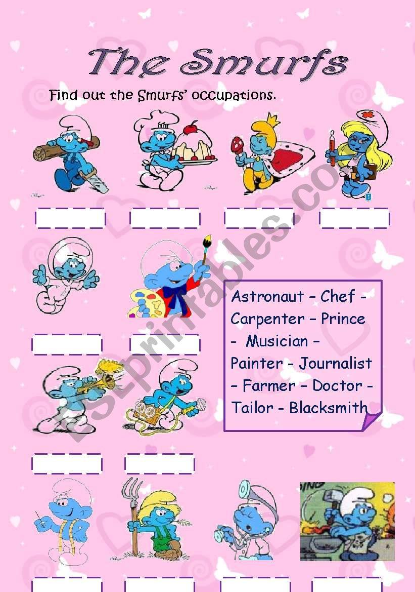The SMURFs Occupations,  Actions & Feelings (3 pages)