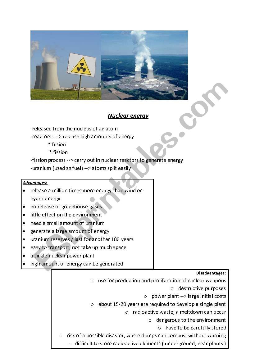 nuclear energy - ESL worksheet by viag