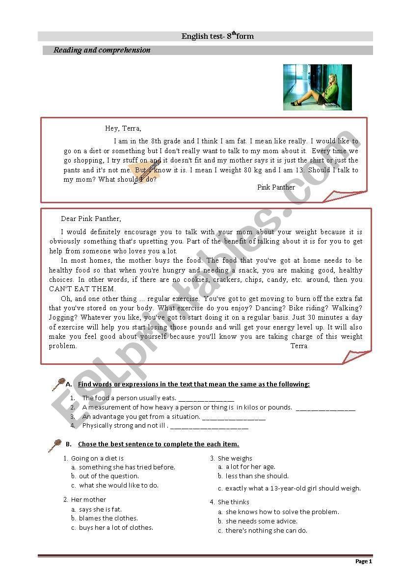 Healthy eating habits - ESL worksheet by Paula Caravelas