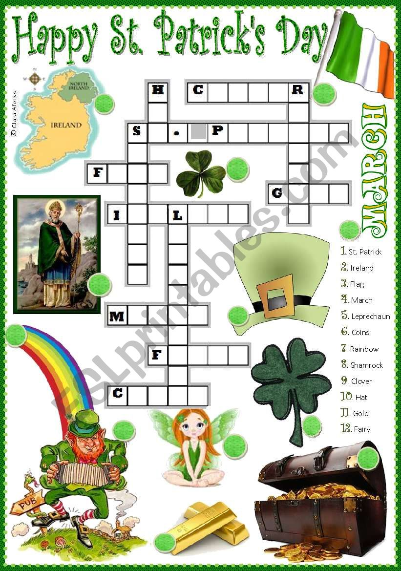 St. Patrick´s crossword worksheet