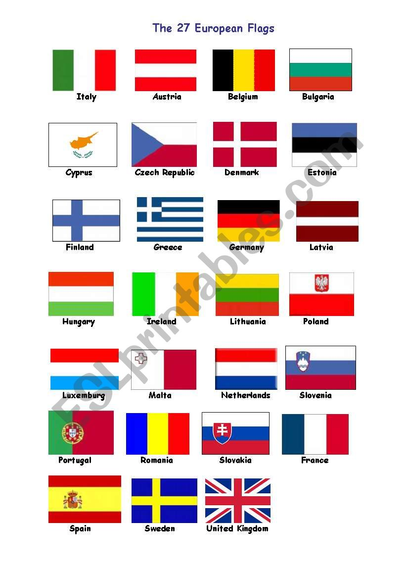 27 flags for europe worksheet