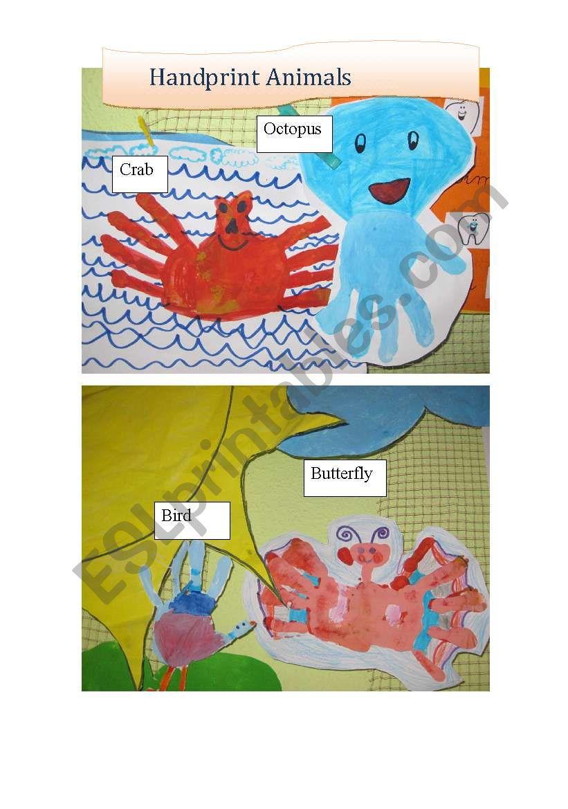 Handprint Animals worksheet