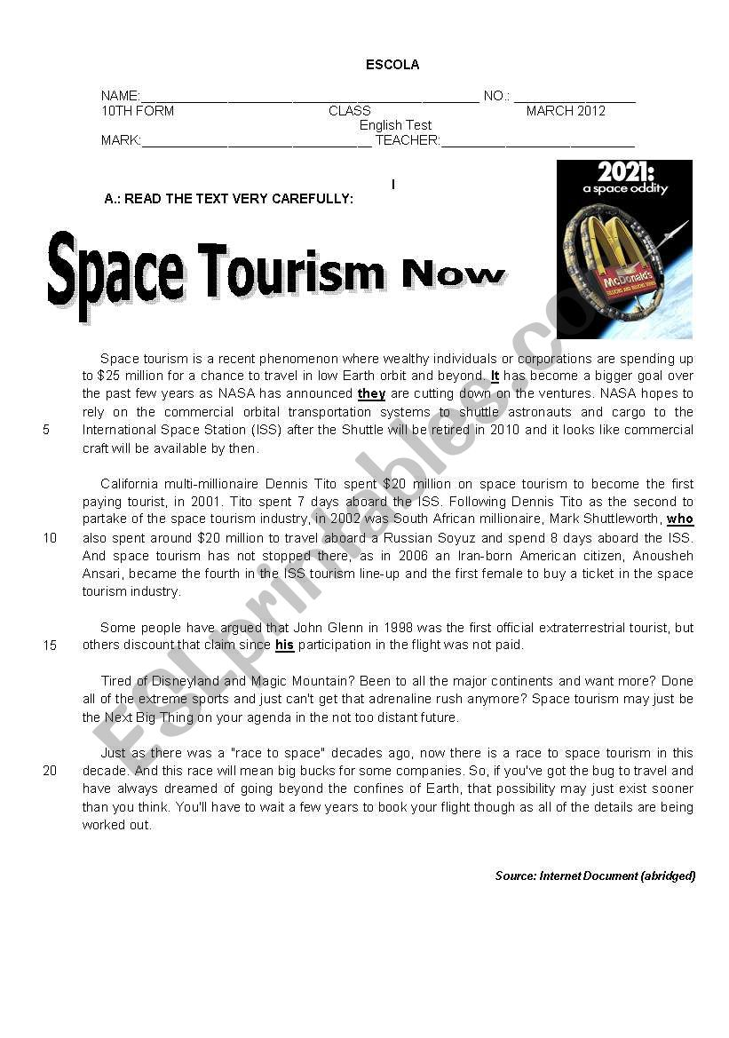 A test on Space Tourism worksheet