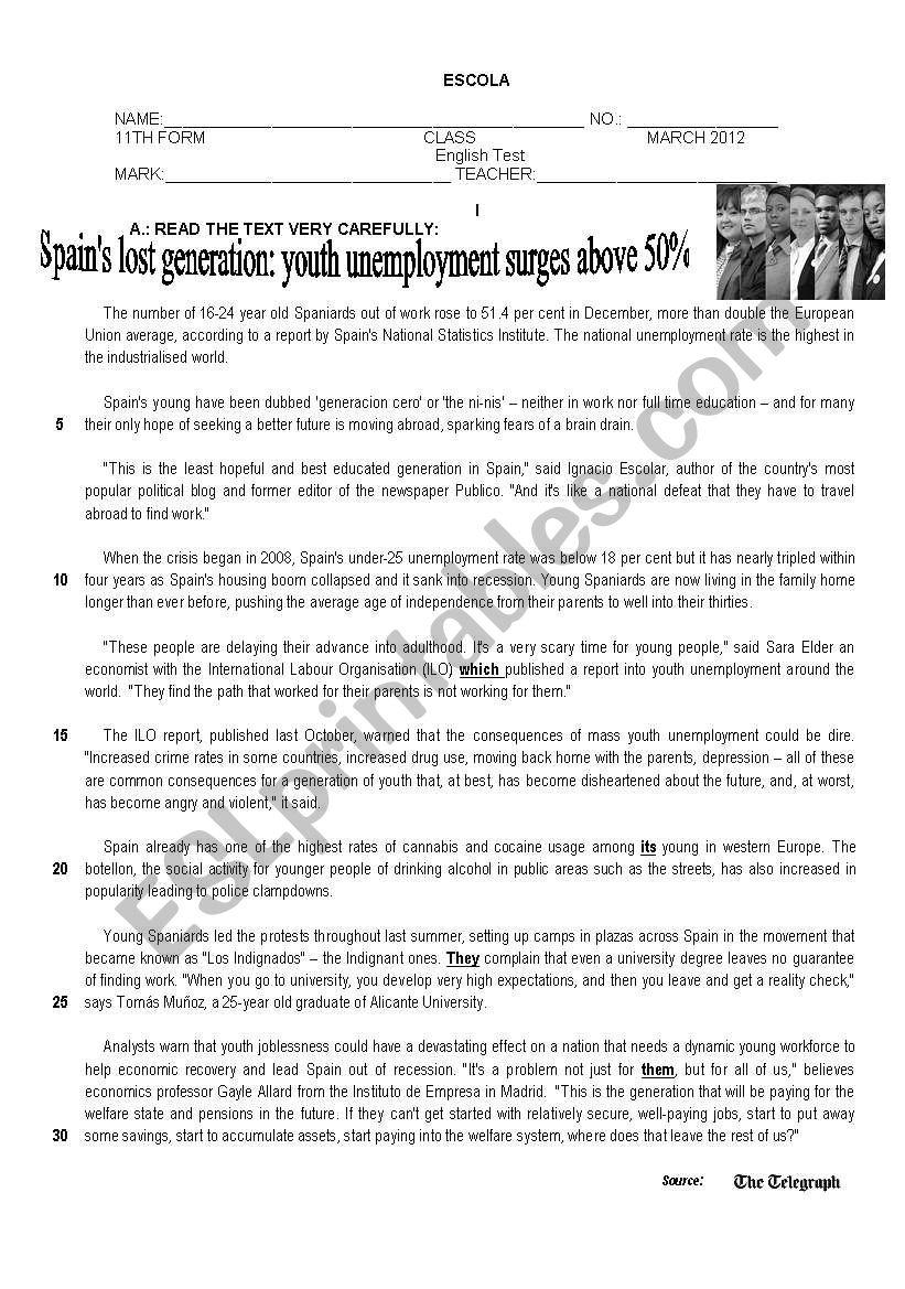 Test on Unemployment worksheet