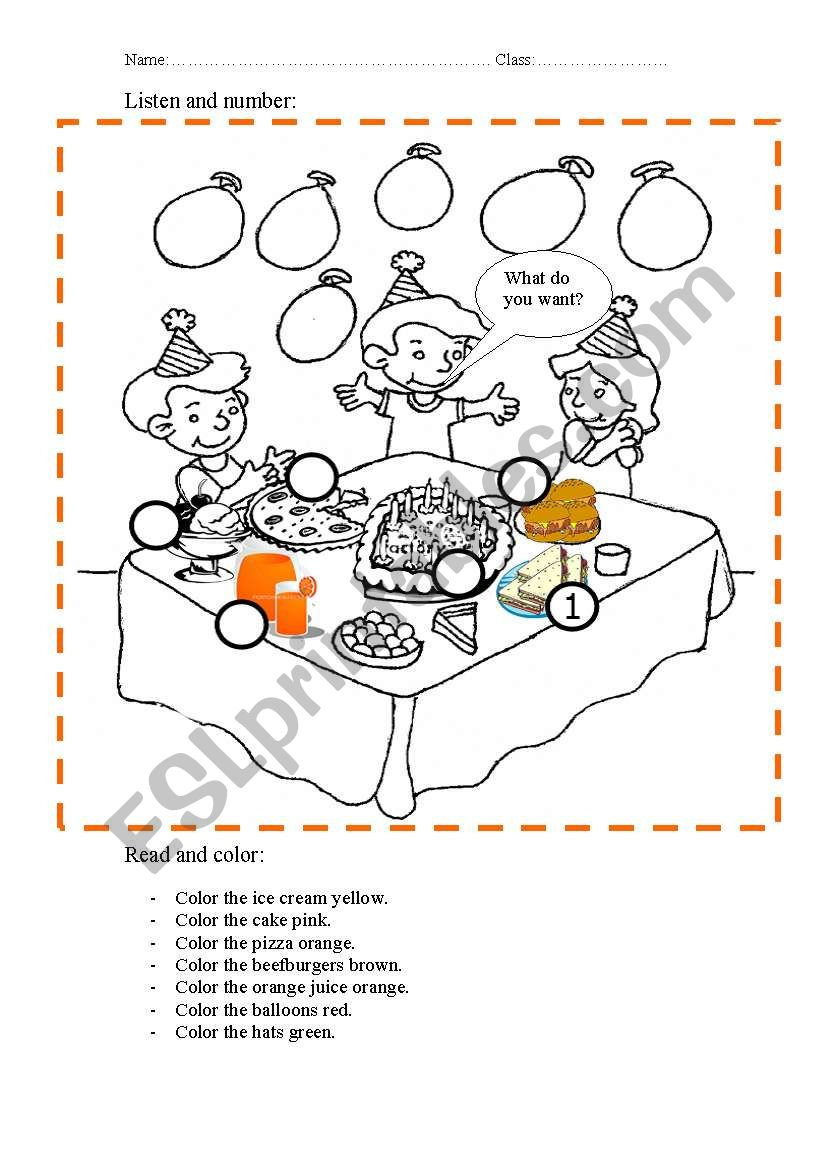 birthday party esl worksheet by hams almesa. Black Bedroom Furniture Sets. Home Design Ideas