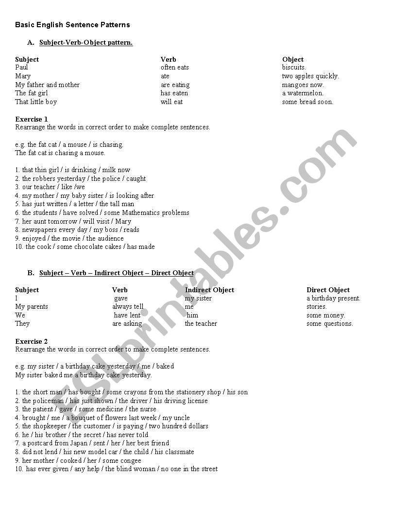 english worksheets basic sentence pattern. Black Bedroom Furniture Sets. Home Design Ideas