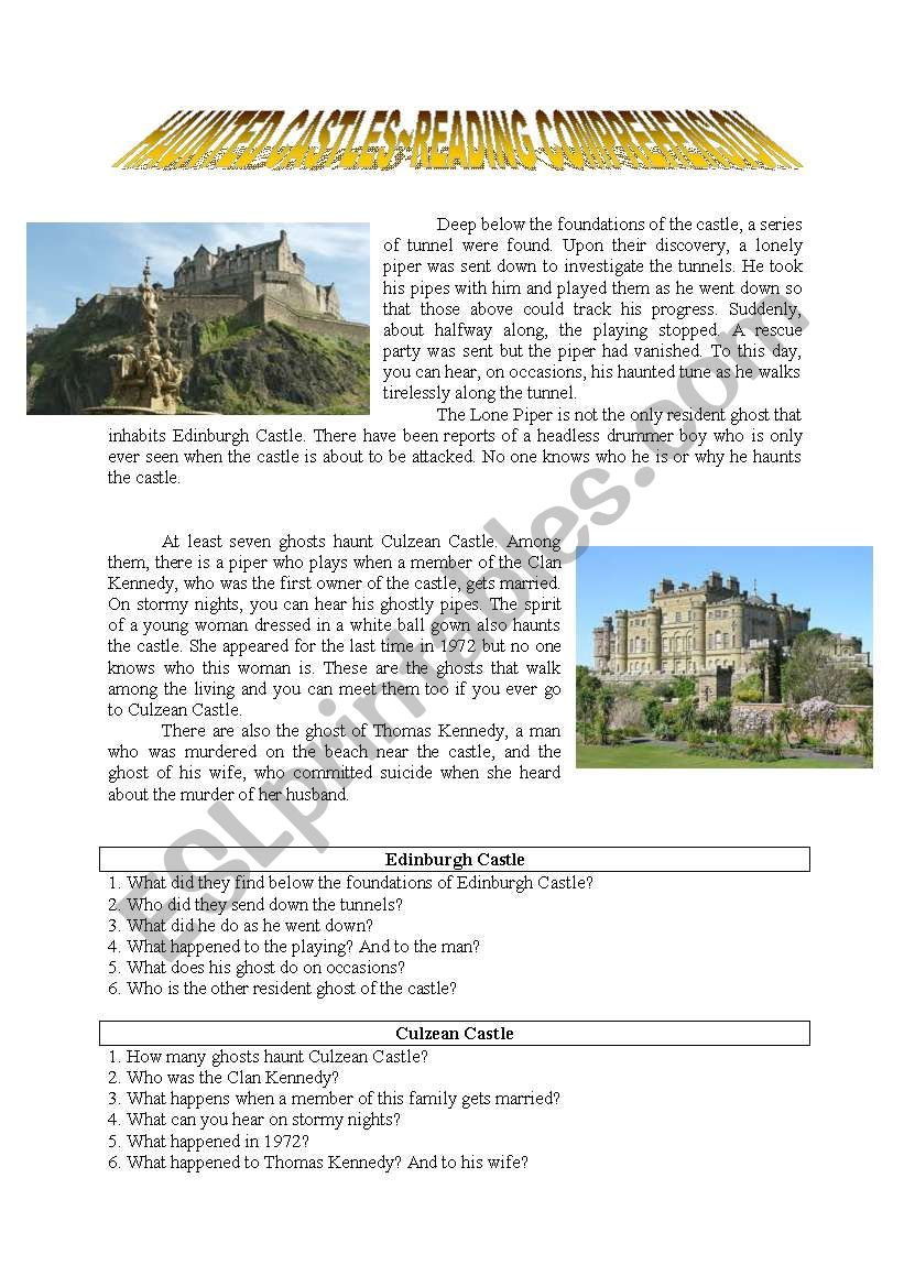 Haunted Castle~Reading Comprehension