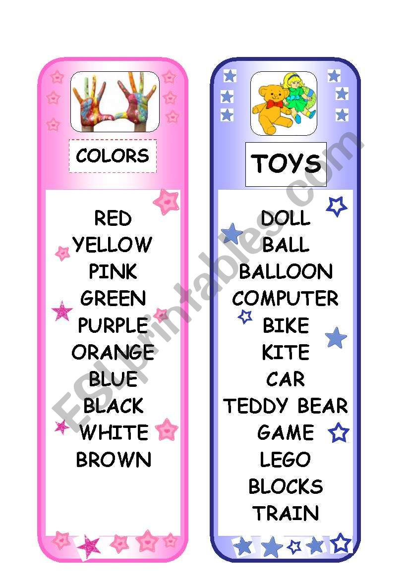BOOKMARK - COLORS AND TOYS worksheet
