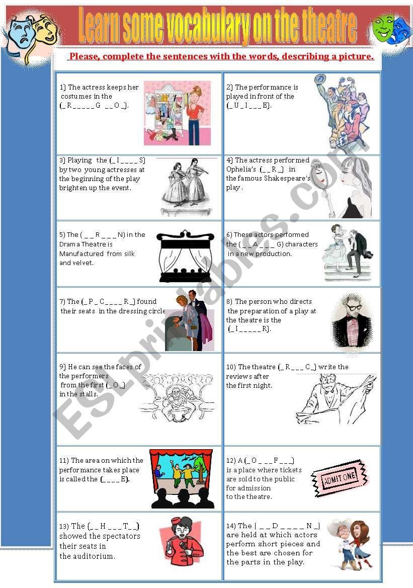 Theatre Vocabulary worksheet