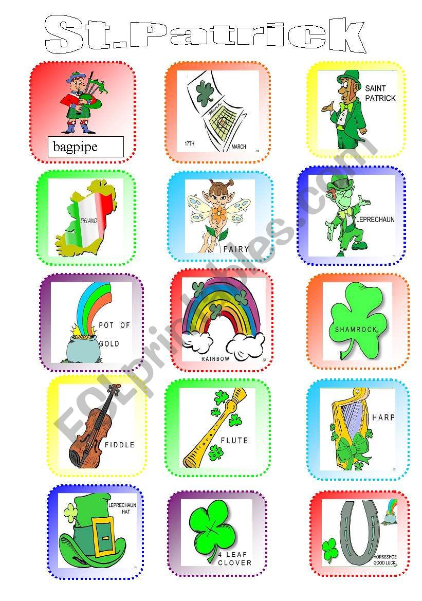 St.Patrick Pictionary worksheet