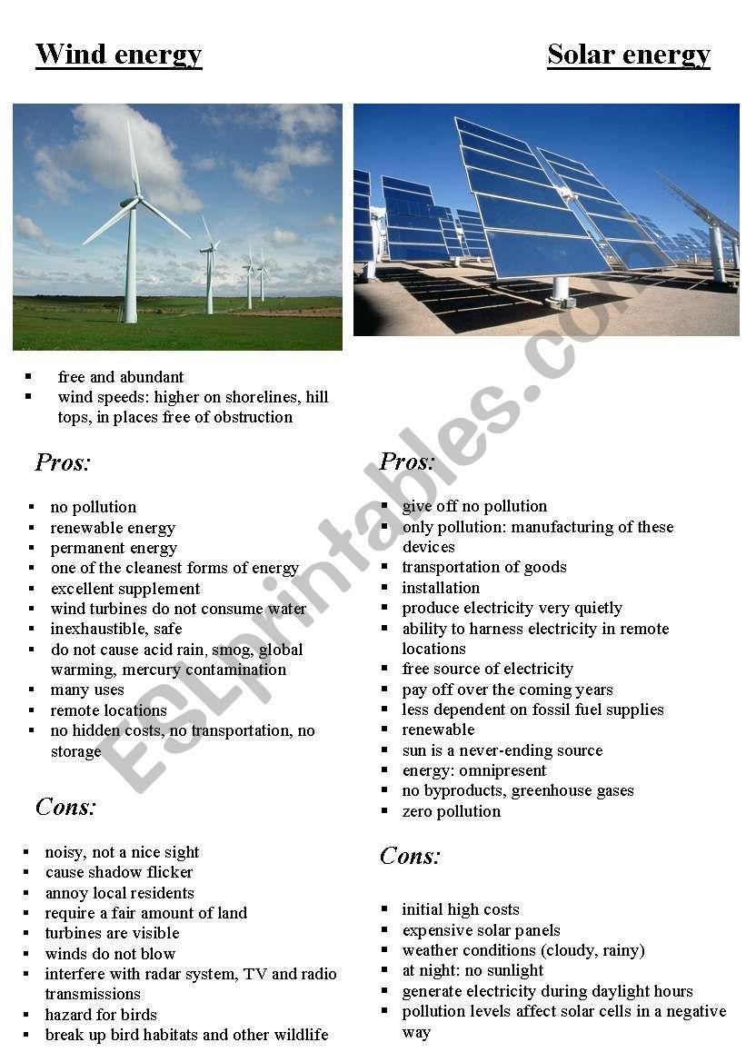 solar energy and wind energy worksheet