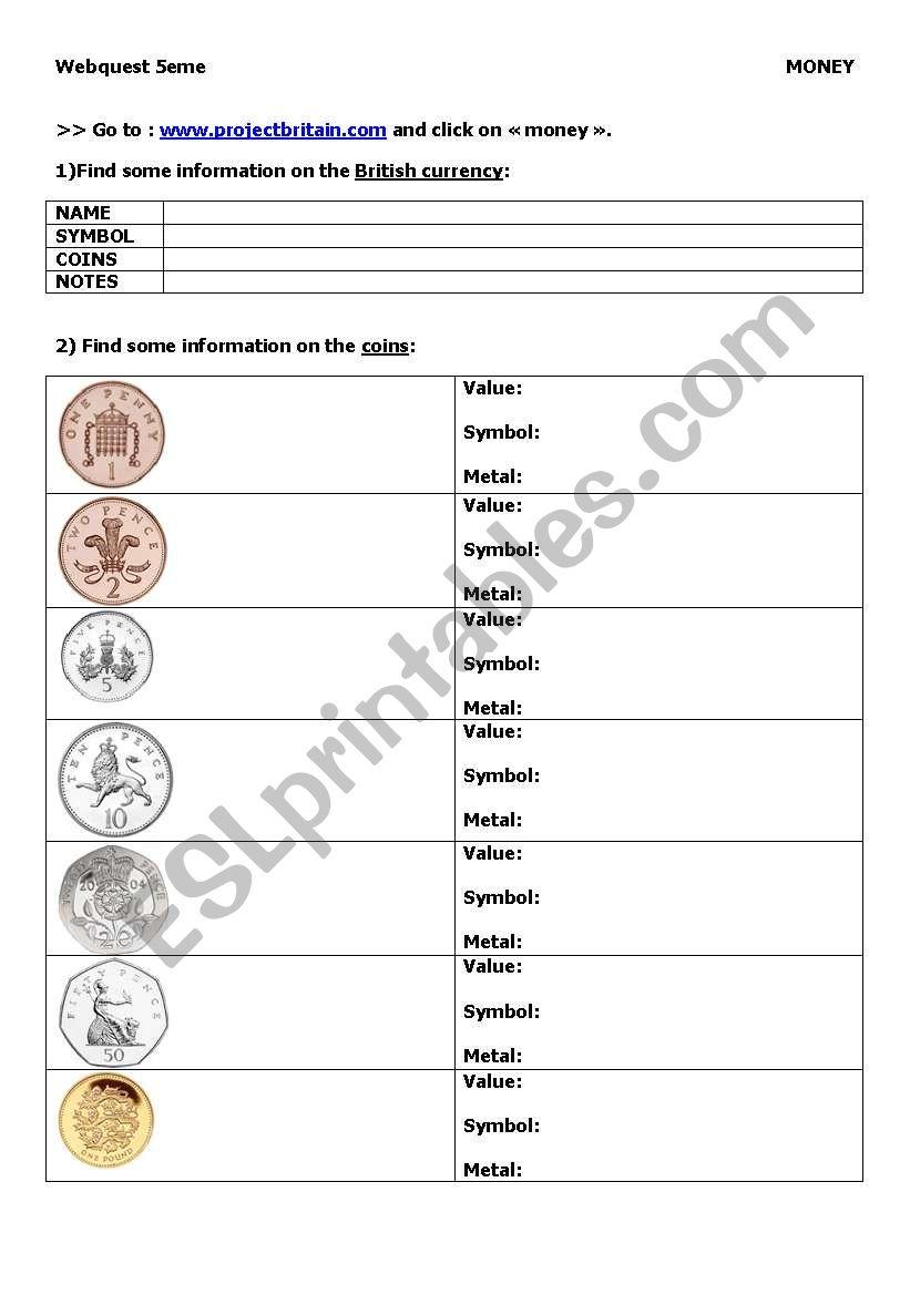Webquest : British money worksheet