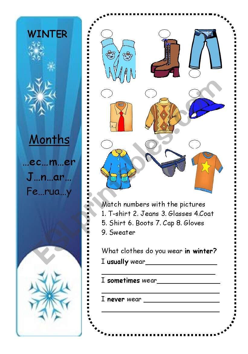 CLOTHES + SEASONS (part 1/4) worksheet