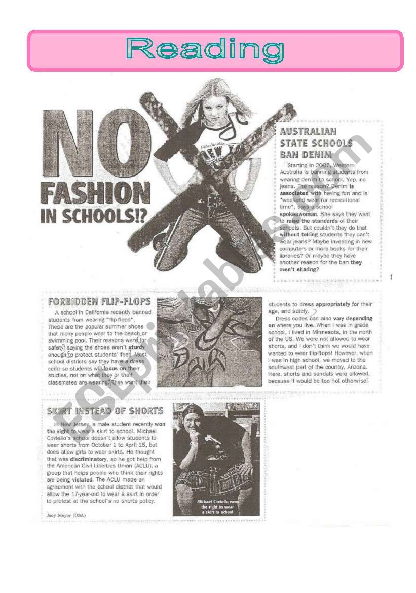 No fashion in schools-reading comprehension