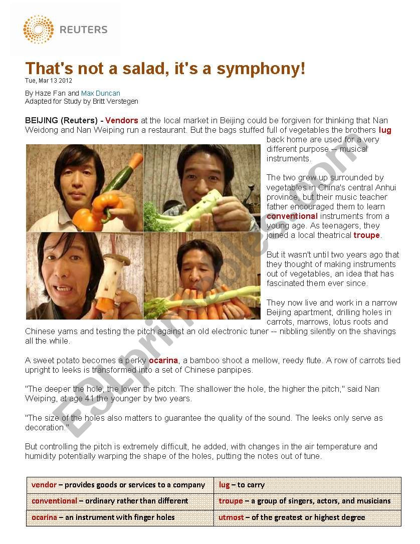 Salad Symphony worksheet