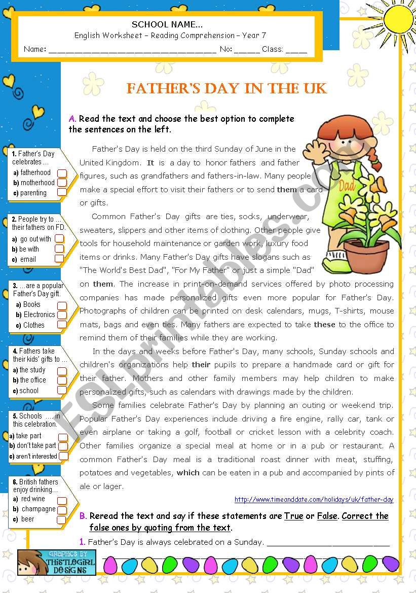 Father´s Day in the UK worksheet