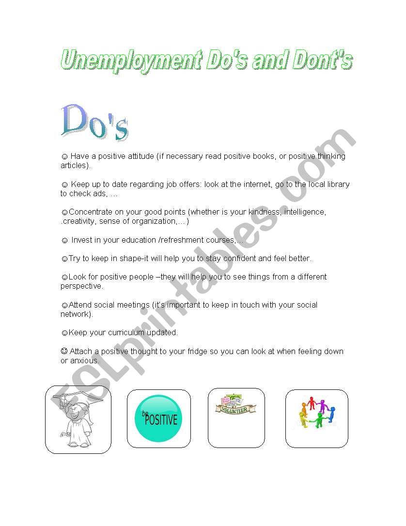 Unemployment_dos-and_donts worksheet