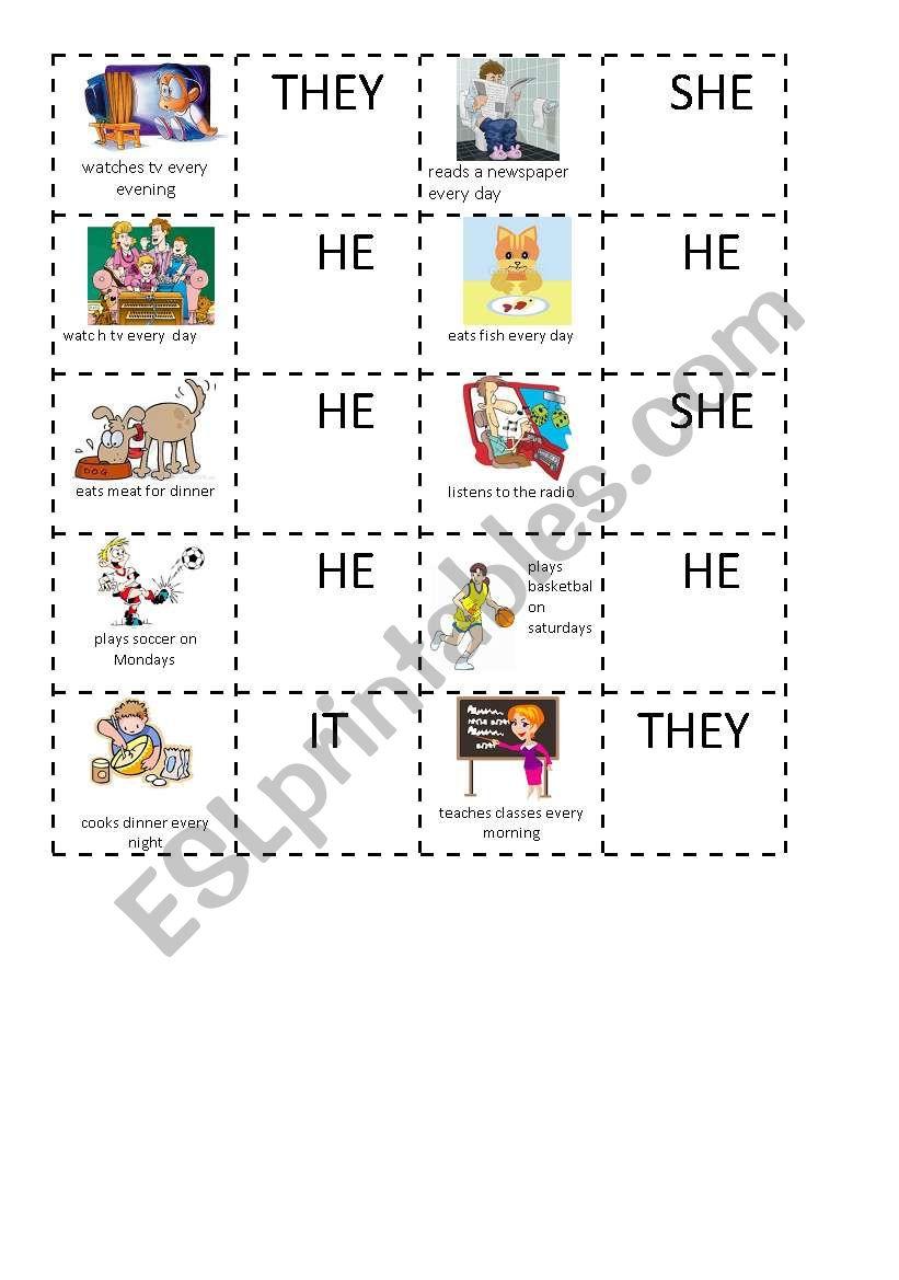 Simple Present domino 3 worksheet