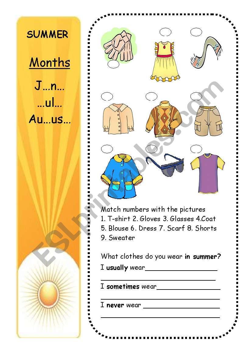 CLOTHES +SEASONS (part 4/4) worksheet