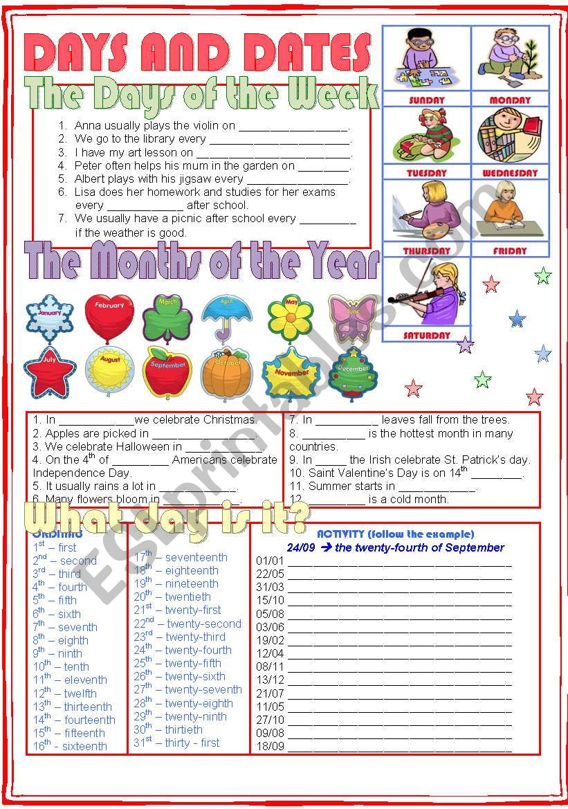 Days and Dates worksheet