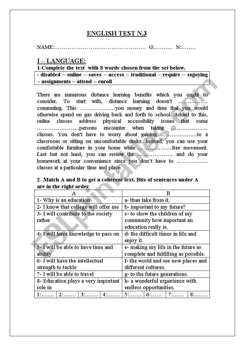 3rd form mid-term test 3 worksheet