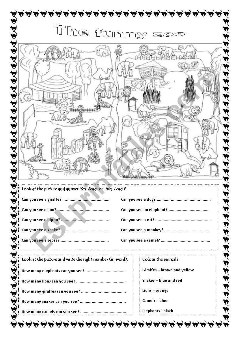 The funny zoo (editable) worksheet