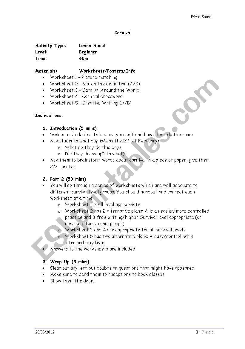 Carnival worksheet