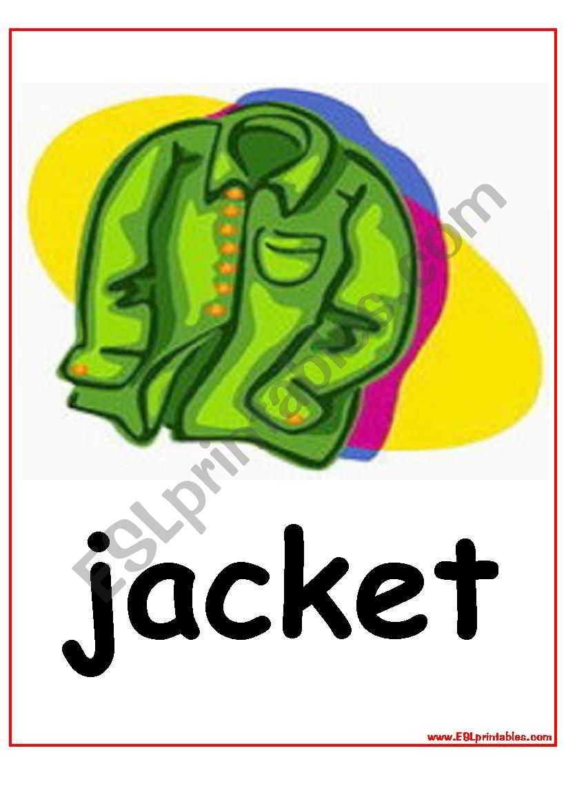 The Clothes flashcards worksheet
