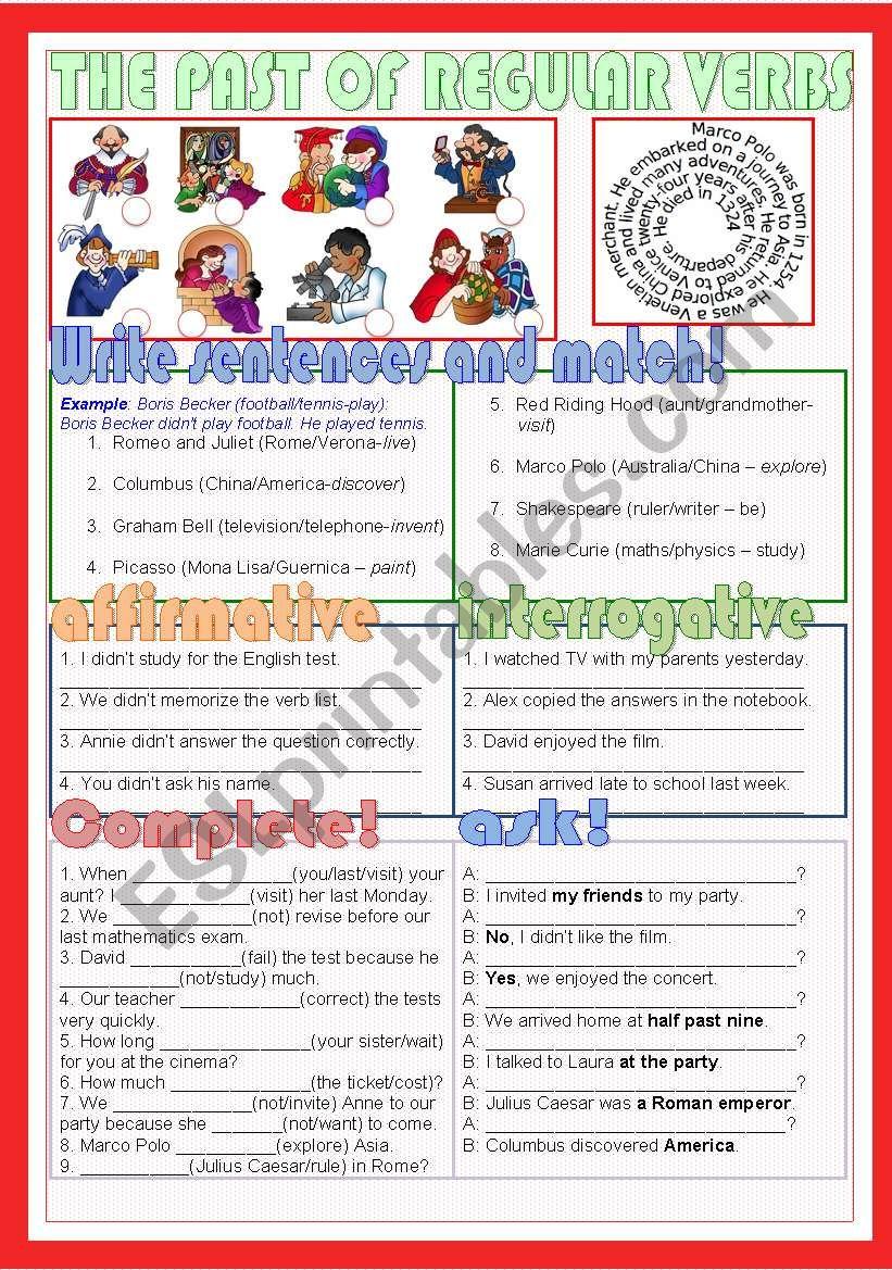 The past of regular verbs worksheet