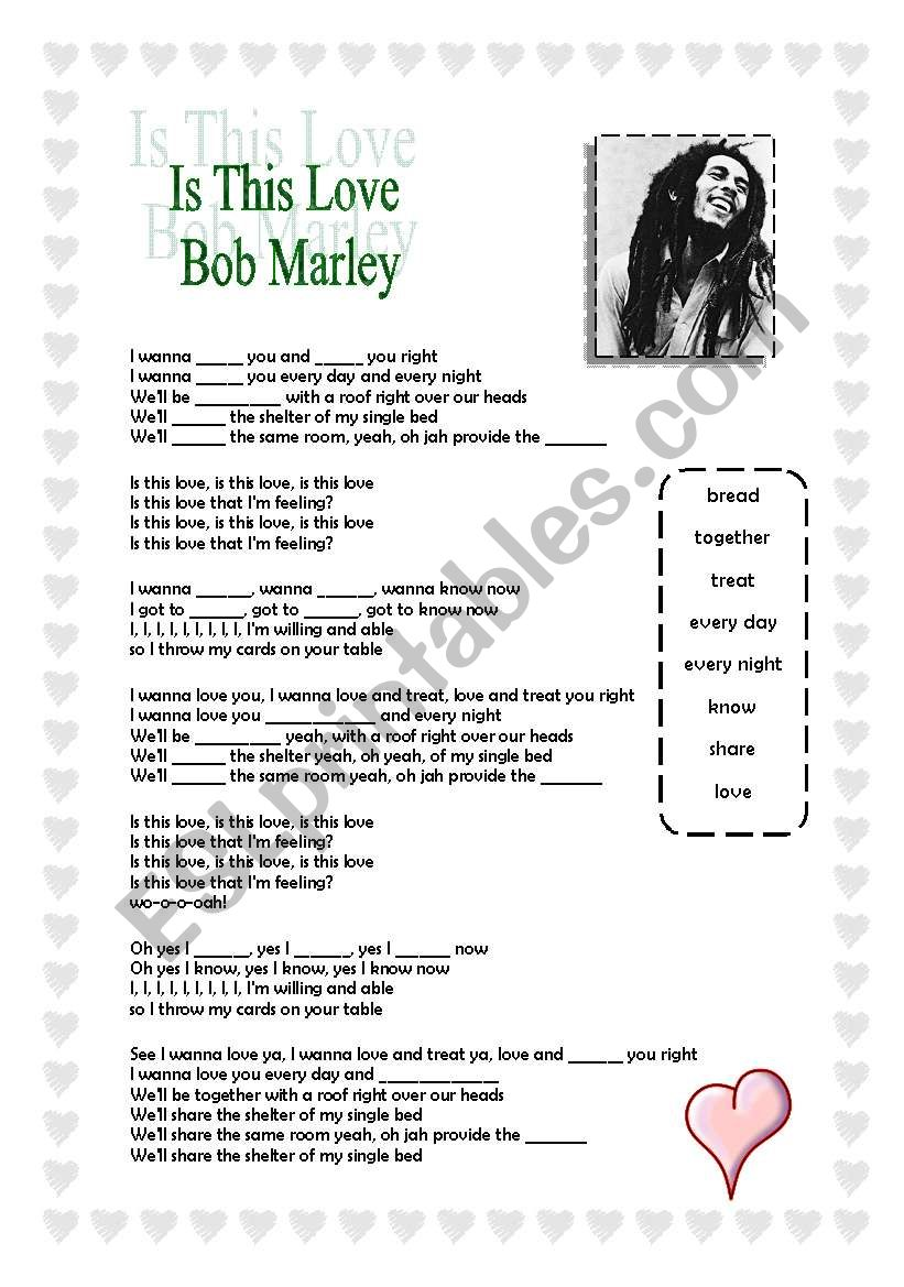Bob Marley - Is This Love worksheet