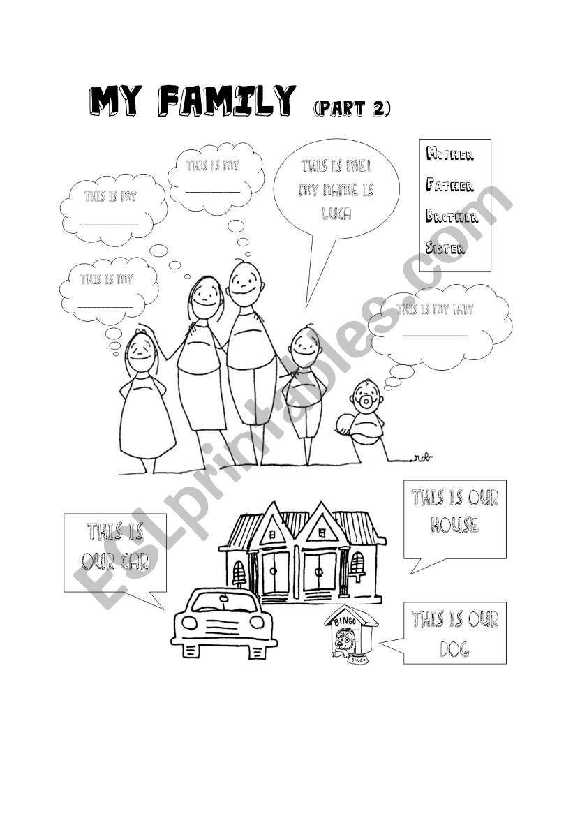 My family II- Kindergarten level - ESL worksheet by lavilavi