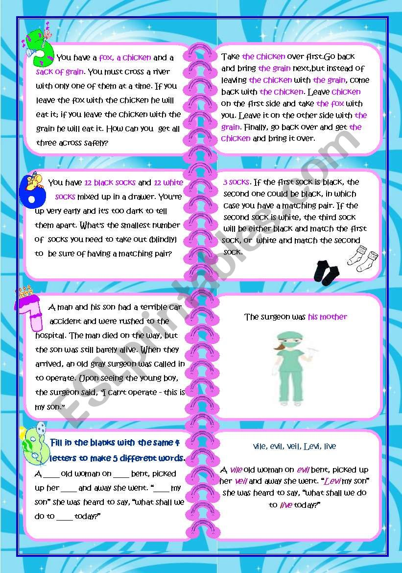 14 Brain Teasers Game ( 3PAGES + KEY ANSWERS ) - ESL