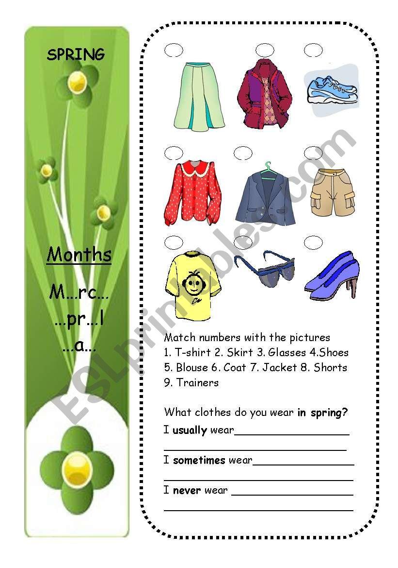 CLOTHES + SEASONS (part 3/4) worksheet