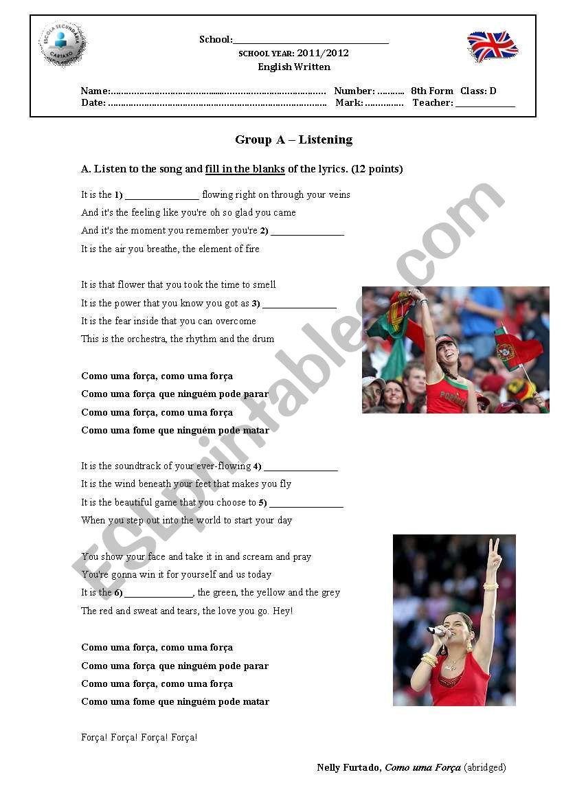 Test on Sports worksheet