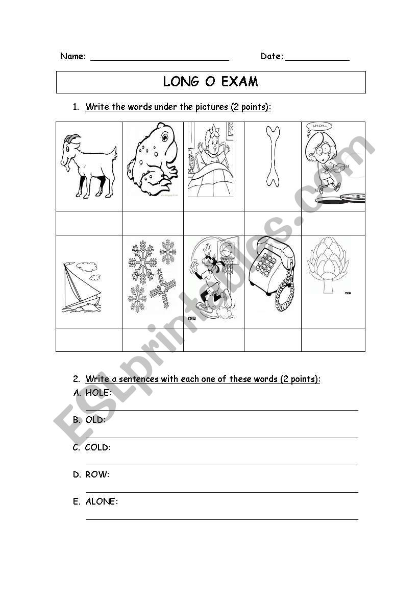 Long o sound worksheet