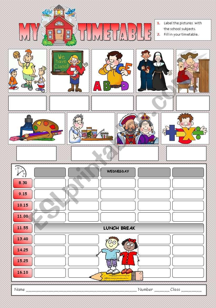My school timetable worksheet