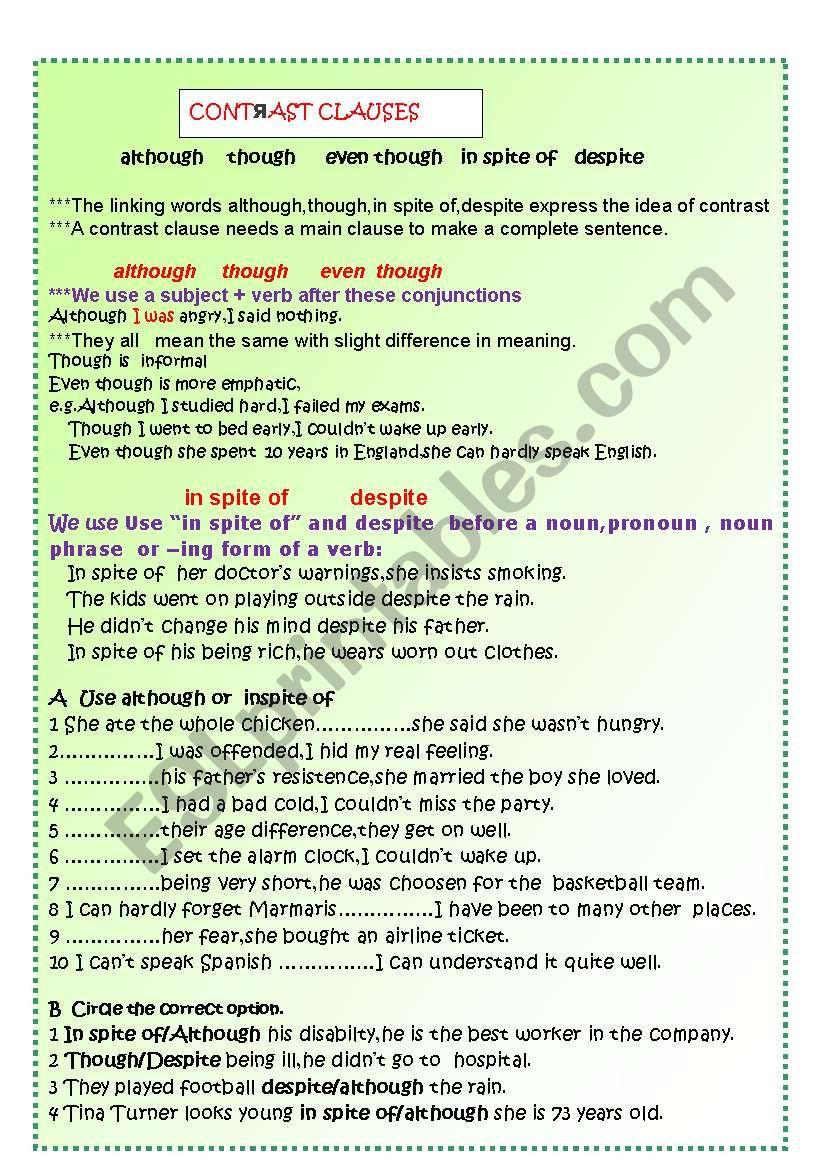 CONTRAST CLAUSES worksheet