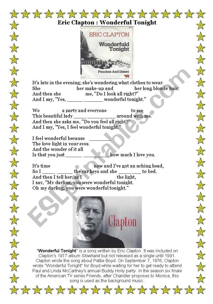 Present Simple Wonderful Tonight Eric Clapton Song Esl