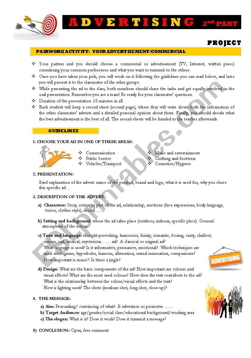 ADVERTISING 2nd part: Project worksheet