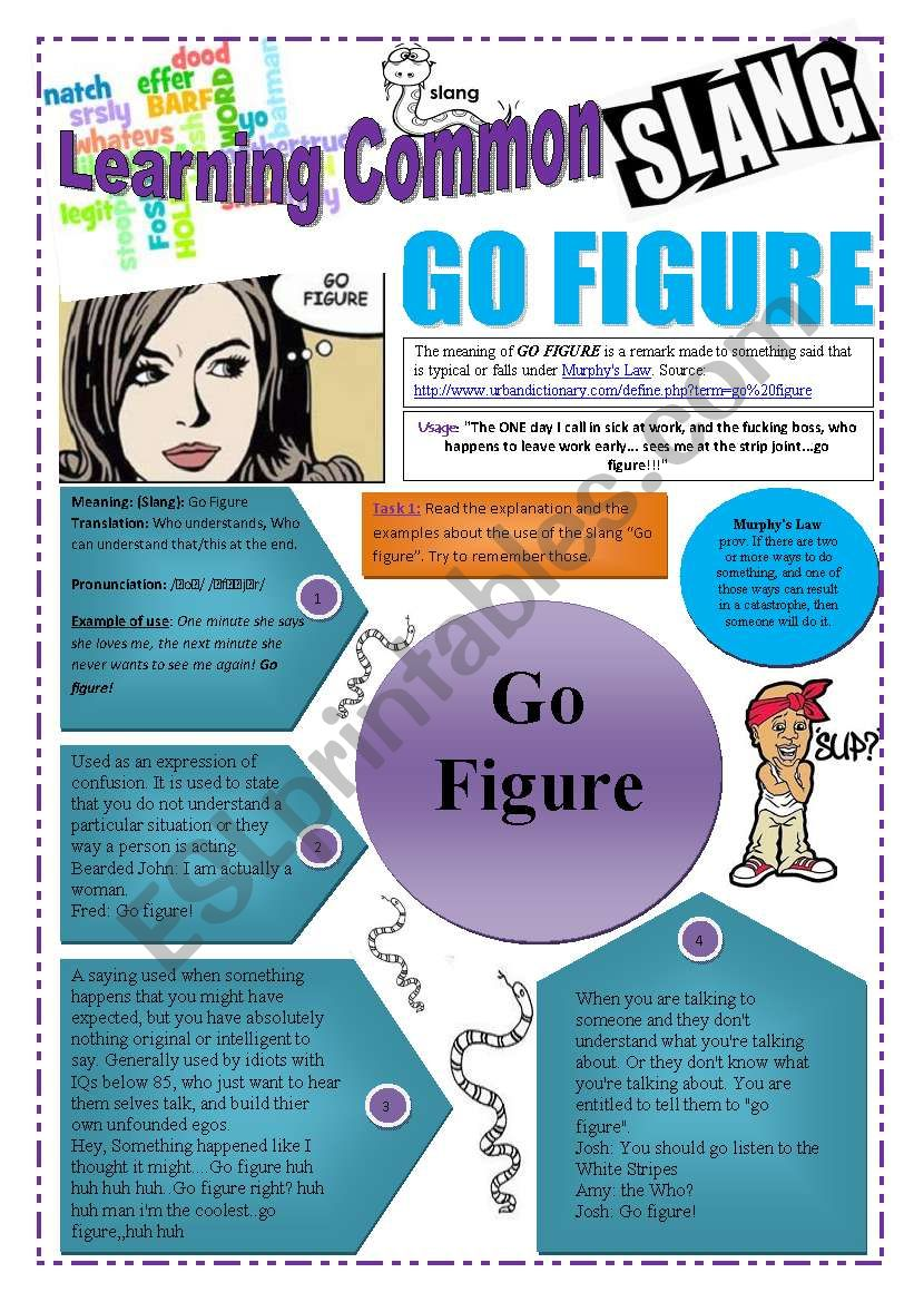 SLANG  - Learning Common Slang -  GO FIGURE (4 pages) With link to a VIDEO A complete worksheet with 7 exercises and instructions