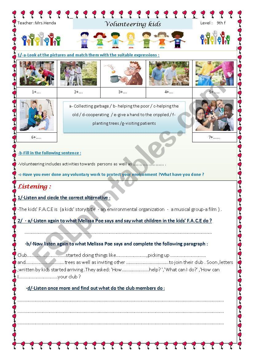 volunteering kids worksheet