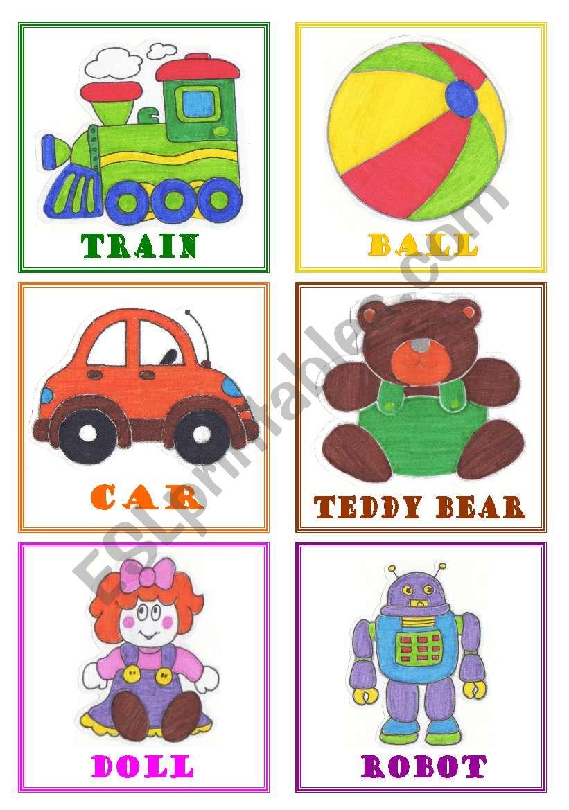 Toys flashcards worksheet