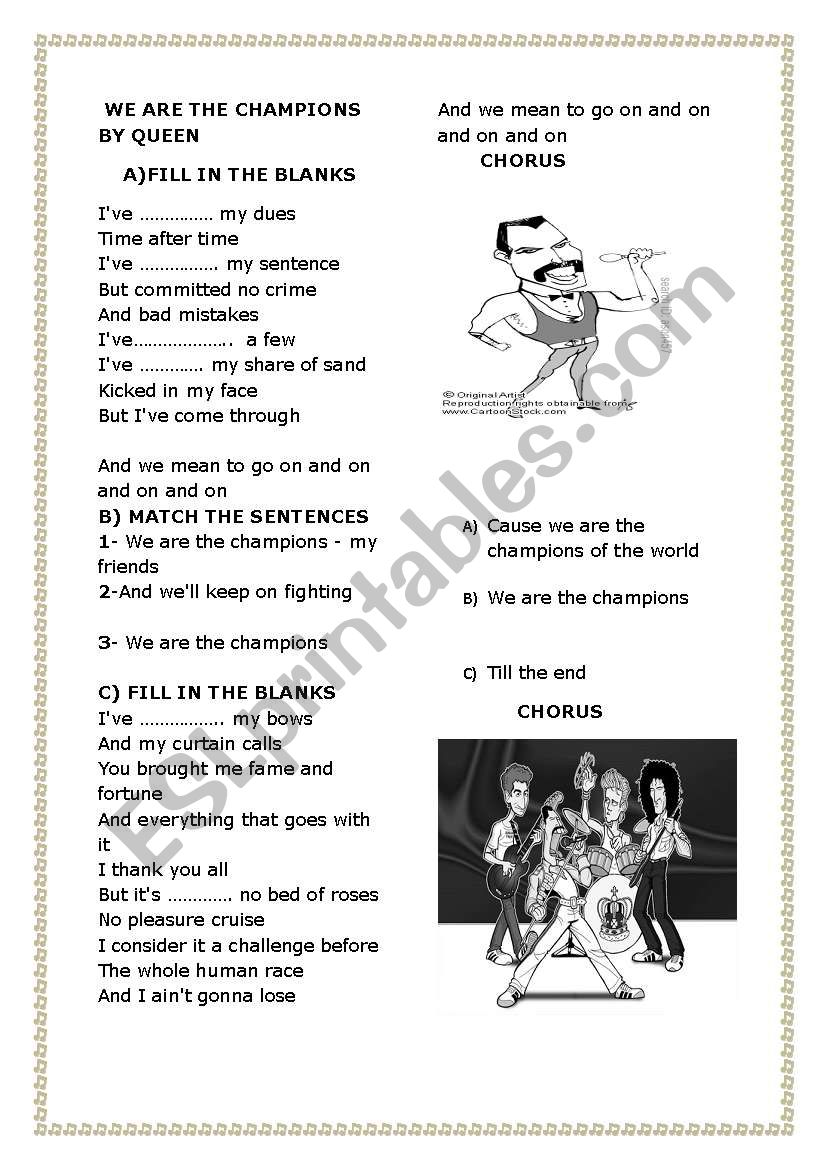 we are the champions by queen worksheet