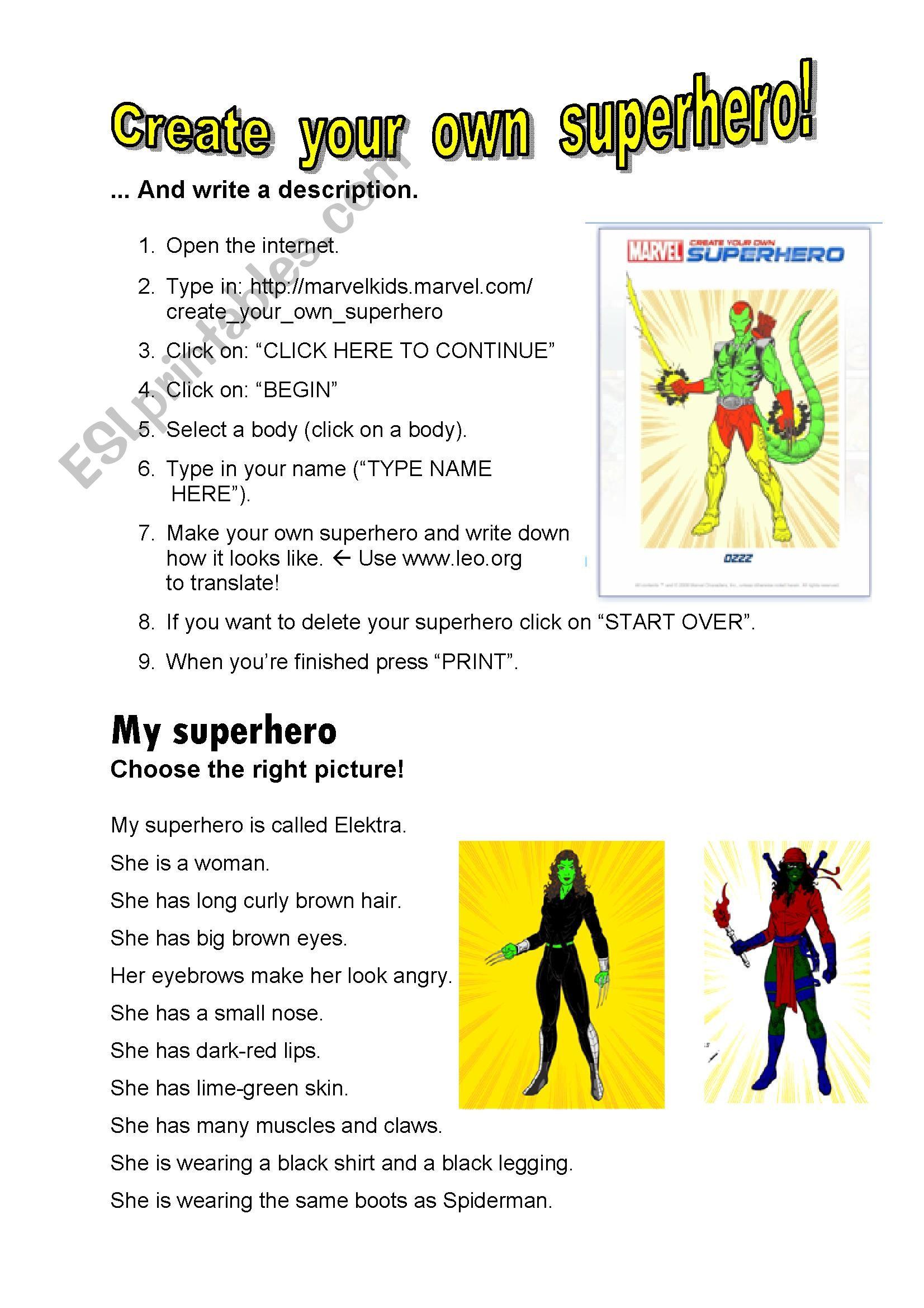 Create your own superhero! (+key) - ESL worksheet by Dietze