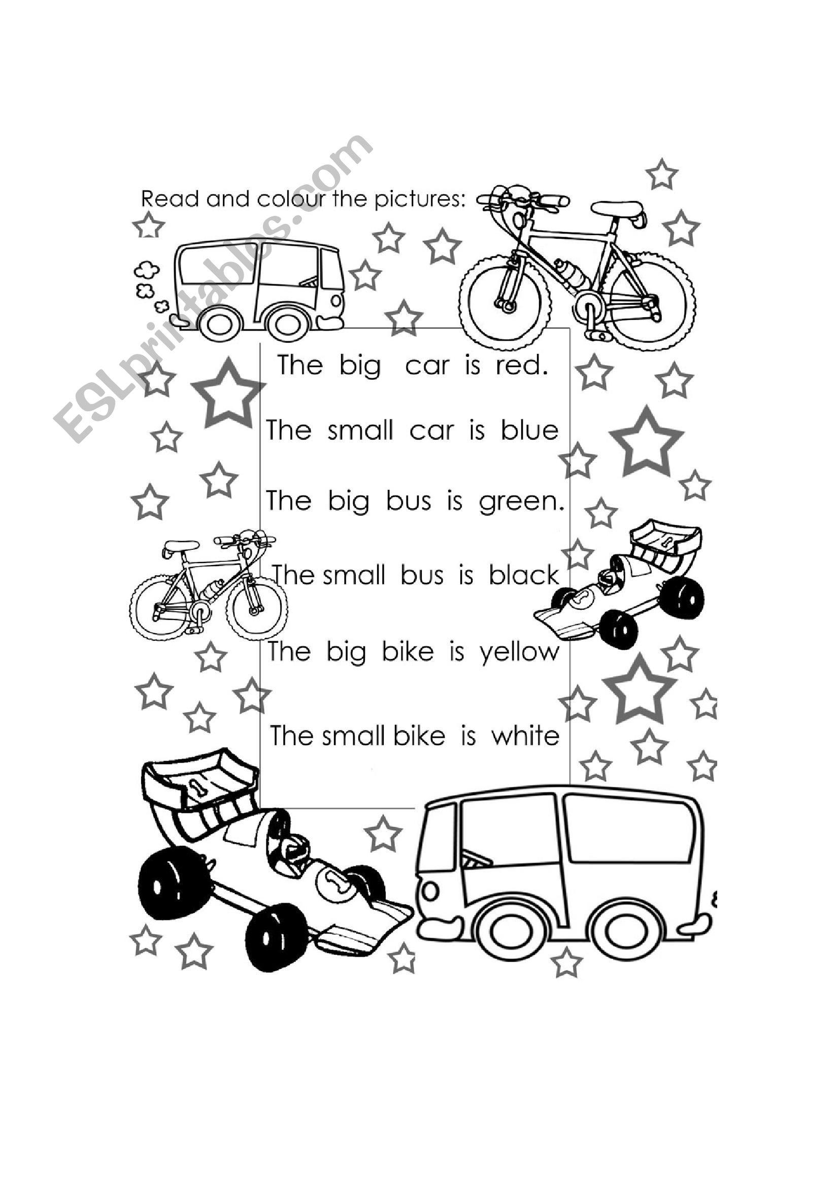 colors and transport worksheet
