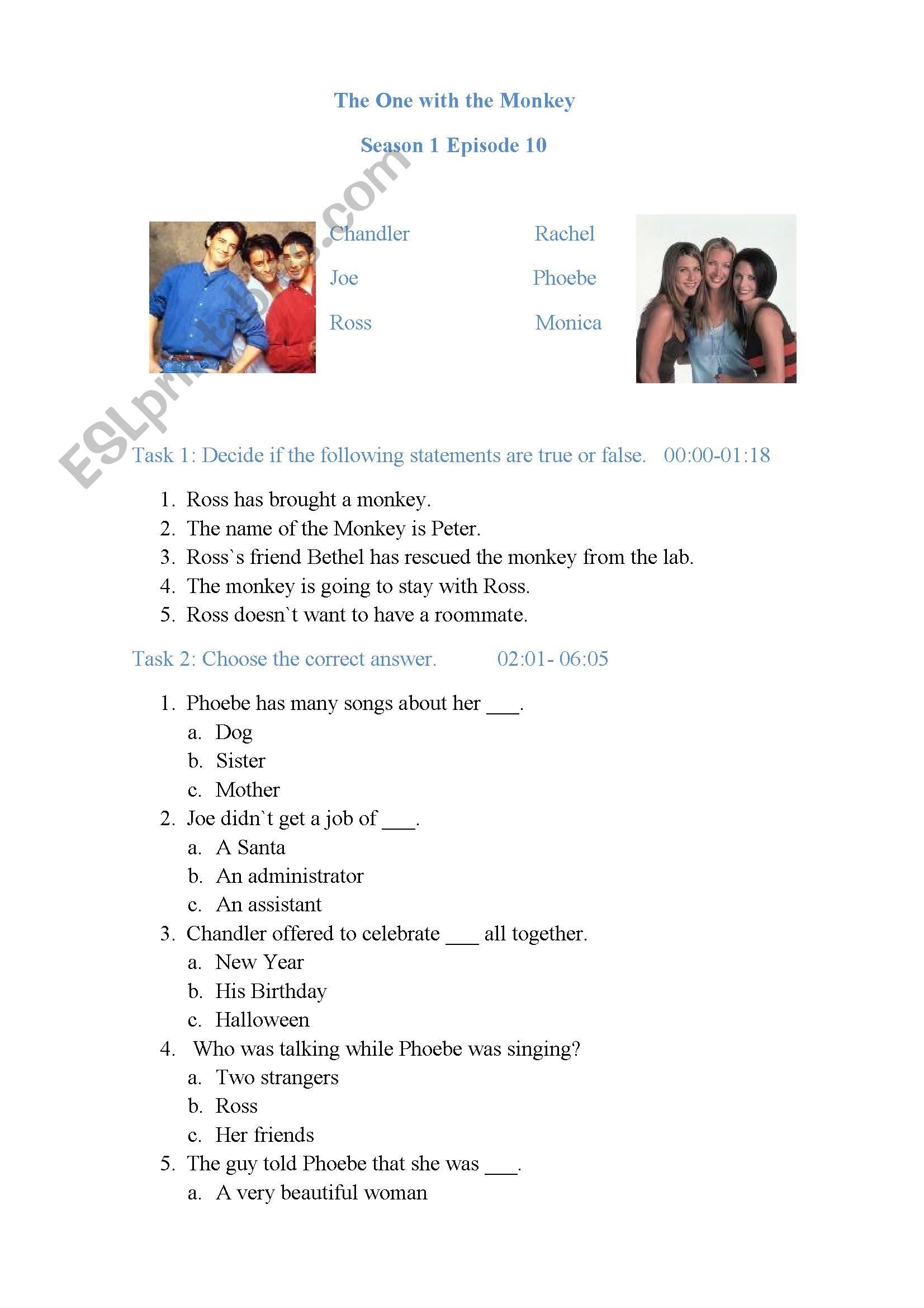Friends Season 1 Episode 10 - ESL worksheet by YulikaTinkie