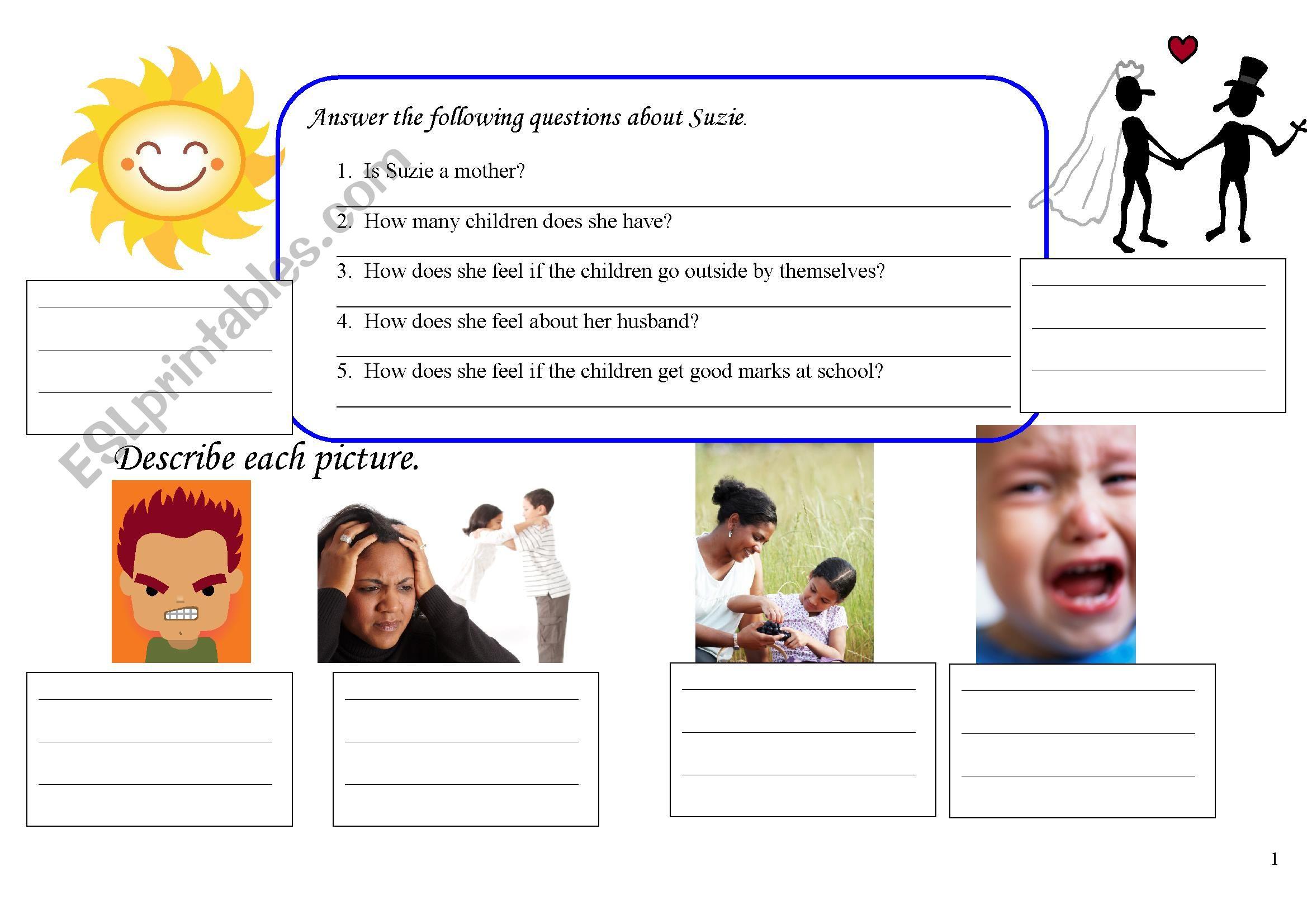 Adjectives of Emotion for Beginners Worksheet 2