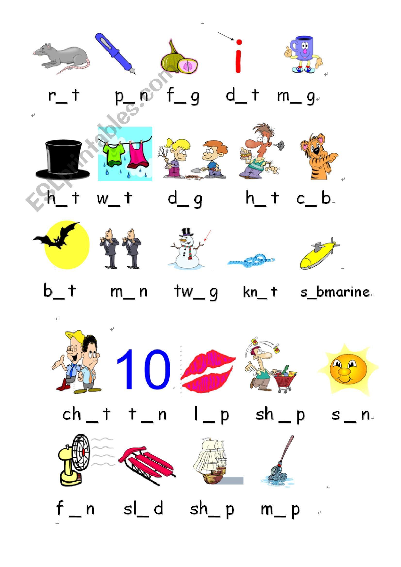 Worksheets Short Vowels Worksheets short vowels a e i o u esl worksheet by zeng worksheet