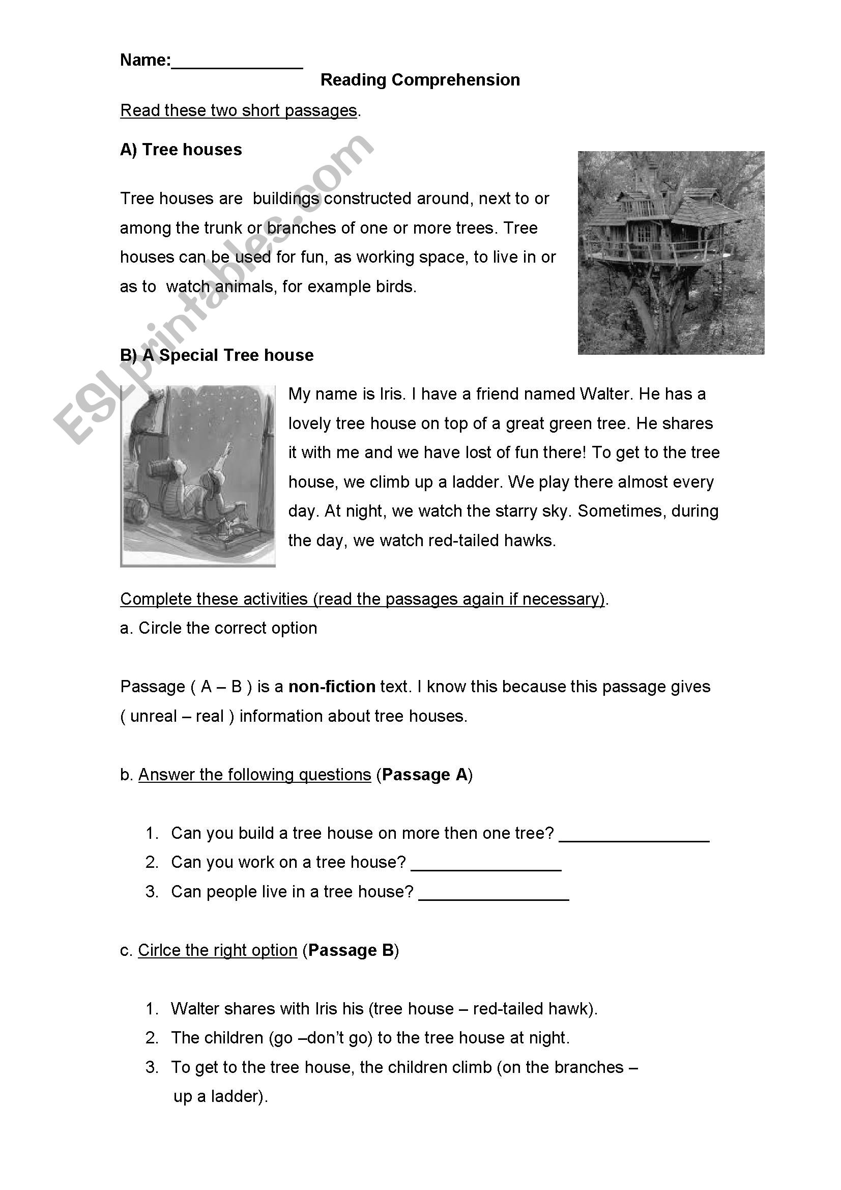 - Tree-Houses - Reading Comprehension - ESL Worksheet By Ximenne