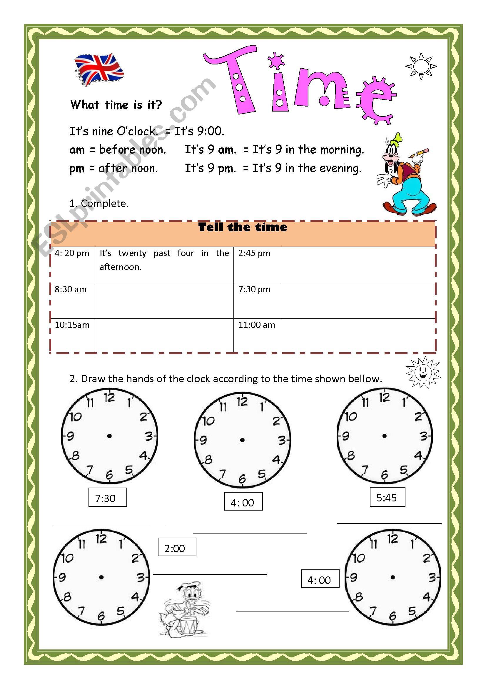 Telling Time   ESL worksheet by Aramis